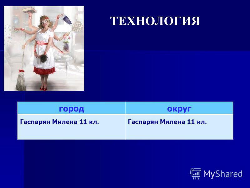 ТЕХНОЛОГИЯ город округ Гаспарян Милена 11 кл.