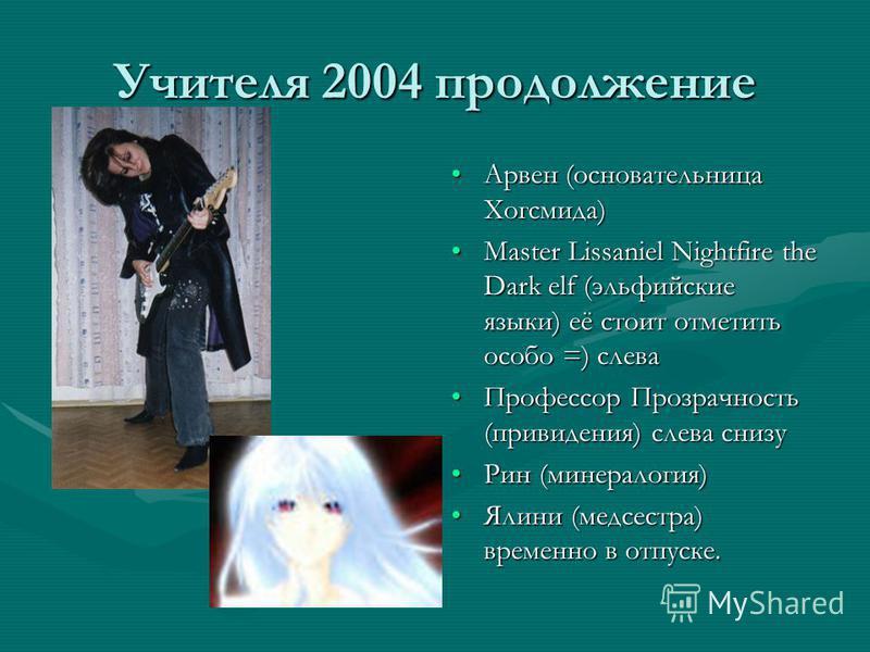 Учителя 2004 продолжение Арвен (основательница Хогсмида) Master Lissaniel Nightfire the Dark elf (эльфийские языки) её стоит отметить особо =) слева Профессор Прозрачность (привидения) слева снизу Рин (минералогия) Ялини (медсестра) временно в отпуск