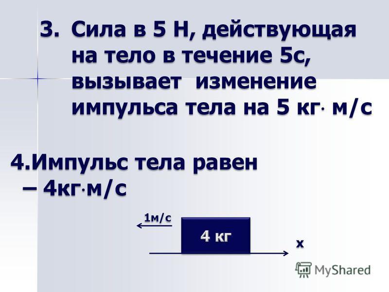 3. Сила в 5 Н, действующая на тело в течение 5 с, вызывает изменение импульса тела на 5 кг м/с 4. Импульс тела равен – 4 кг м/с – 4 кг м/с 1 м/с 1 м/с х