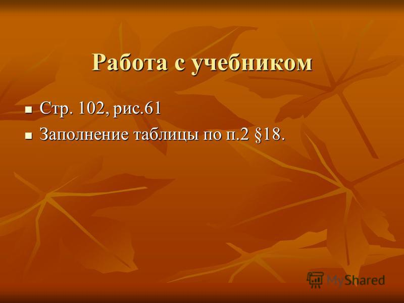 Работа с учебником Стр. 102, рис.61 Стр. 102, рис.61 Заполнение таблицы по п.2 §18. Заполнение таблицы по п.2 §18.