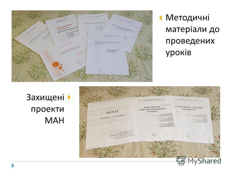 Методичні матеріали до проведених уроків Захищені проекти МАН
