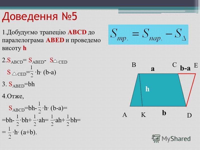 Доведення 5 A BC D K E b-ab-a a b h 1.Добудуємо трапецію ABCD до паралелограма ABED и проведемо висоту h 2.S ABCD = S ABED - S CED S CED = ·h· (b-a) 3. S ABED =bh 4.Отже, S ABCD =bh- ·h· (b-a)= =bh- ·bh+ ·ah= ·ah+ ·bh= = ·h· (a+b).
