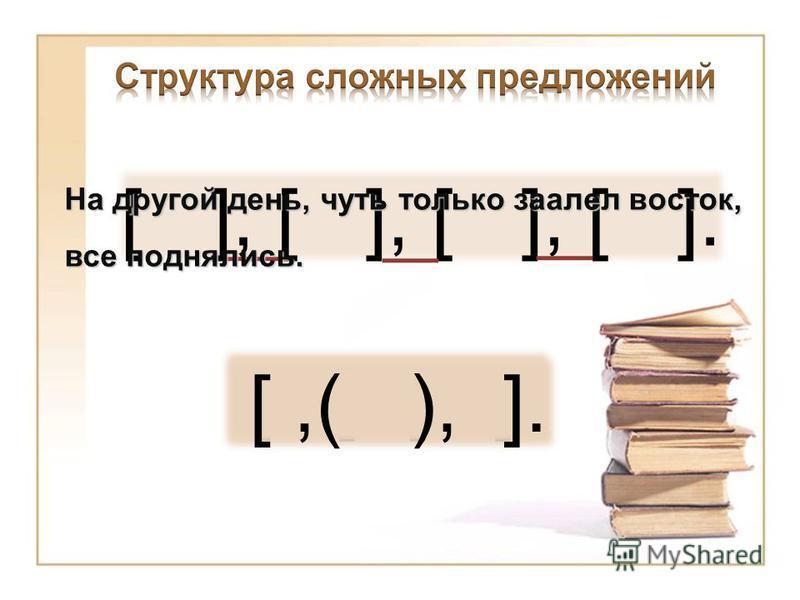 [ ], [ ], [ ], [ ]. На другой день, чуть только заалел восток, все поднялись. [ ], [ ]. [,( ), ].