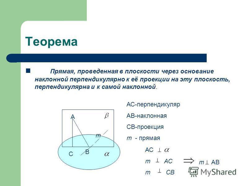 Теорема Прямая, проведенная в плоскости через основание наклонной перпендикулярно к её проекции на эту плоскость, перпендикулярна и к самой наклонной. А В С т АС-перпендикуляр АВ-наклонная СВ-проекция т - прямая АС т АС т СВ тАВ