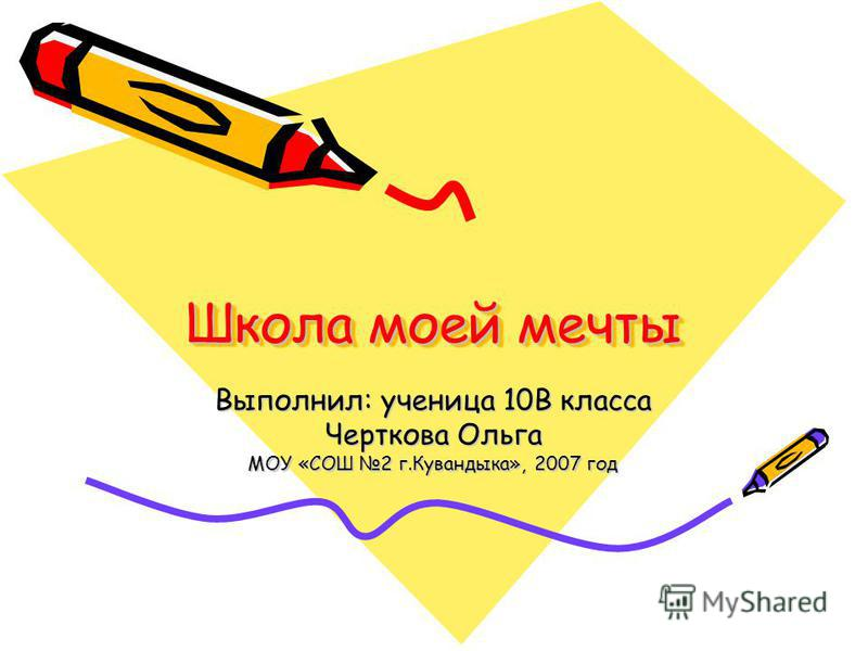 Школа моей мечты Выполнил: ученица 10В класса Черткова Ольга МОУ «СОШ 2 г.Кувандыка», 2007 год