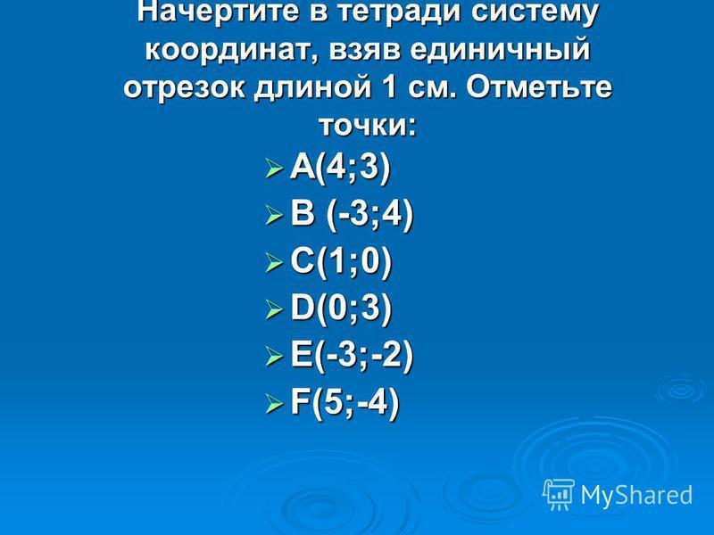 Начертите в тетради систему координат, взяв единичный отрезок длиной 1 см. Отметьте точки: А(4;3) А(4;3) В (-3;4) В (-3;4) С(1;0) С(1;0) D(0;3) D(0;3) E(-3;-2) E(-3;-2) F(5;-4) F(5;-4)