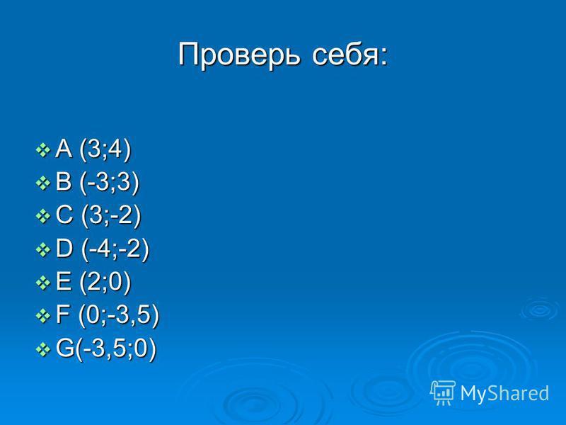 Проверь себя: А (3;4) А (3;4) B (-3;3) B (-3;3) C (3;-2) C (3;-2) D (-4;-2) D (-4;-2) E (2;0) E (2;0) F (0;-3,5) F (0;-3,5) G(-3,5;0) G(-3,5;0)