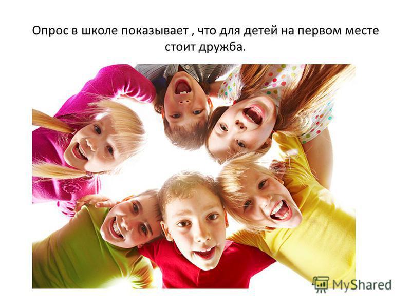 Опрос в школе показывает, что для детей на первом месте стоит дружба.
