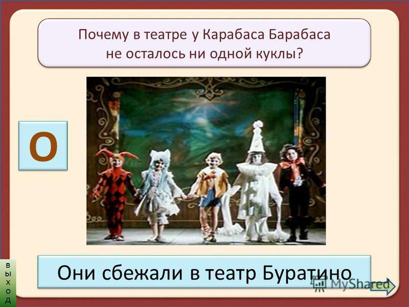 Почему в театре у Карабаса Барабаса не осталось ни одной куклы? О Они сбежали в театр Буратино выход