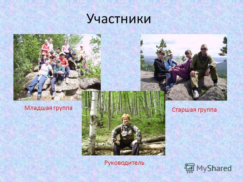 Участники Младшая группа Старшая группа Руководитель