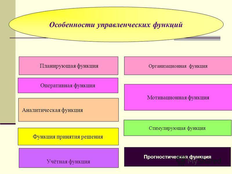 Особенности управленческих функций Планирующая функция Организационная функция Оперативная функция Мотивационная функция Аналитическая функция Стимулирующая функция Функция принятия решения Прогностическая функция Учётная функция