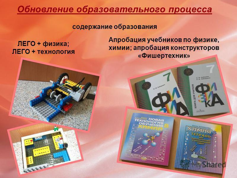 Обновление образовательного процесса содержание образования ЛЕГО + физика; ЛЕГО + технология Апробация учебников по физике, химии; апробация конструкторов «Фишертехник»