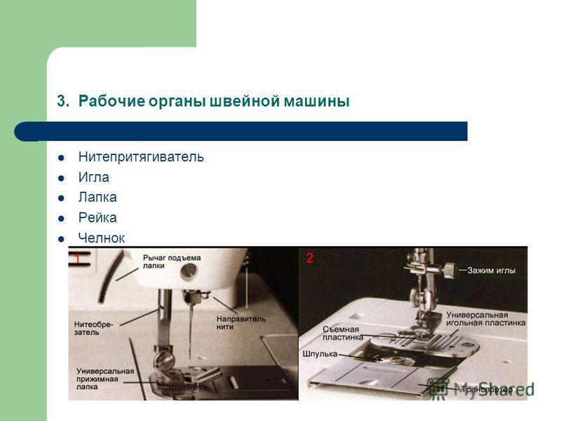 3. Рабочие органы швейной машины Нитепритягиватель Игла Лапка Рейка Челнок