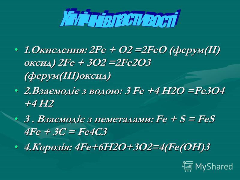 1.Окислення: 2Fe + O2 =2FeO (ферум(II) оксид) 2Fe + 3O2 =2Fe2O3 (ферум(III)оксид)1.Окислення: 2Fe + O2 =2FeO (ферум(II) оксид) 2Fe + 3O2 =2Fe2O3 (ферум(III)оксид) 2.Взаємодіє з водою: 3 Fe +4 H2O =Fe3O4 +4 H22.Взаємодіє з водою: 3 Fe +4 H2O =Fe3O4 +4