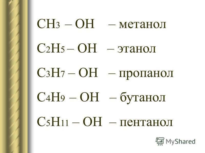 CH 3 – OH – метанол С 2 H 5 – OН – этанол С 3 Н 7 – ОН – пропанол С 4 Н 9 – ОН – бутанол С 5 Н 11 – ОН – пентанол