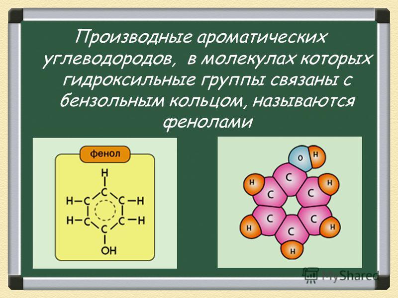 Производные ароматических углеводородов, в молекулах которых гидроксильные группы связаны с бензольным кольцом, называются фенолами