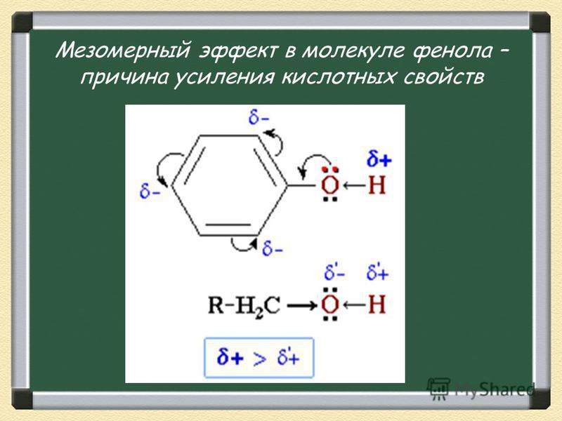 Мезомерный эффект в молекуле фенола – причина усиления кислотных свойств