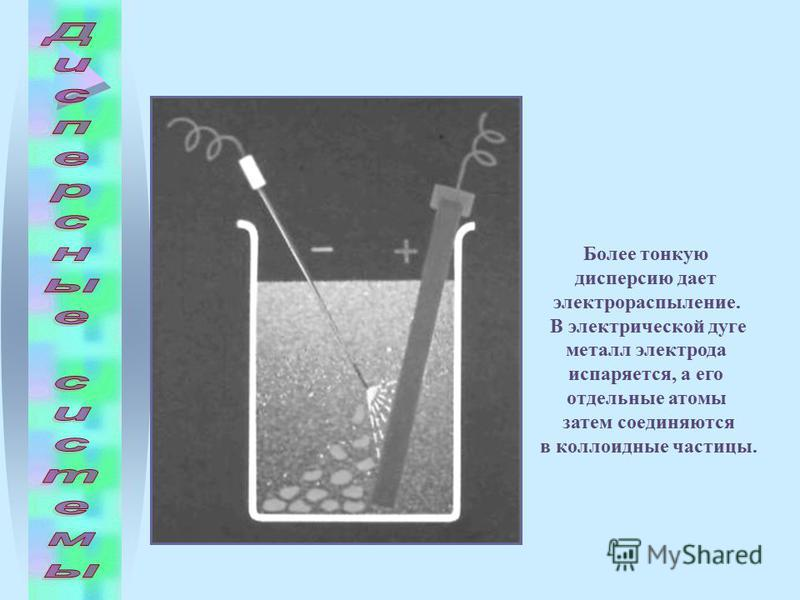 Более тонкую дисперсию дает электро распыление. В электрической дуге металл электрода испаряется, а его отдельные атомы затем соединяются в коллоидные частицы.