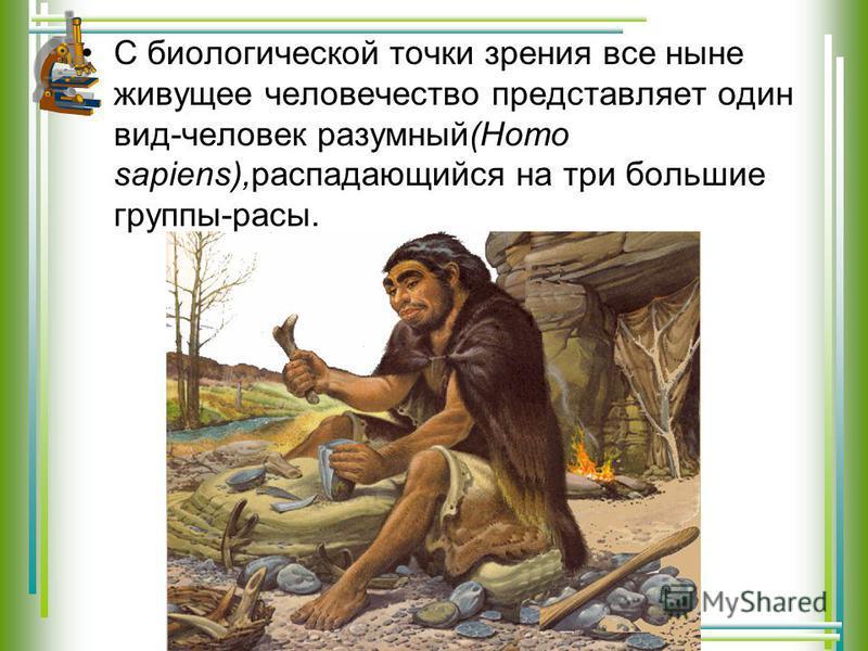 С биологической точки зрения все ныне живущее человечество представляет один вид-человек разумный(Homo sapiens),распадающийся на три большие группы-расы.
