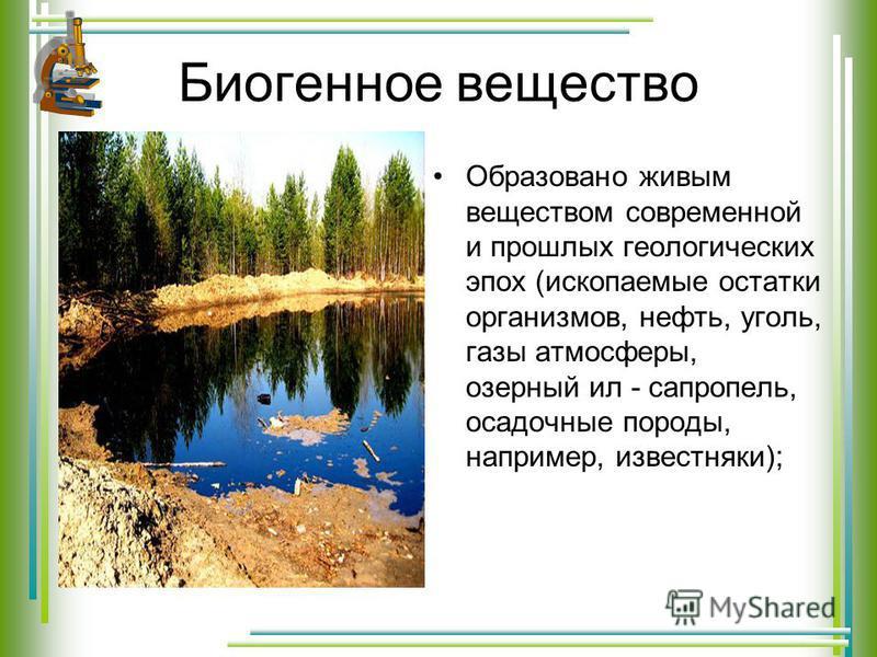 Биогенное вещество Образовано живым веществом современной и прошлых геологических эпох (ископаемые остатки организмов, нефть, уголь, газы атмосферы, озерный ил - сапропель, осадочные породы, например, известняки);