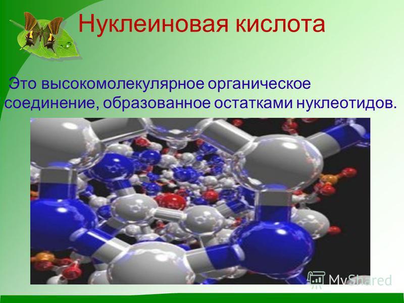 Нуклеиновая кислота Это высокомолекулярное органическое соединение, образованное остатками нуклеотидов.