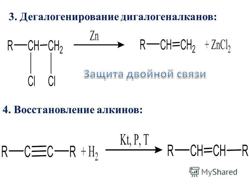 3. Дегалогенирование дигалогеналканов: 4. Восстановление алкинов: