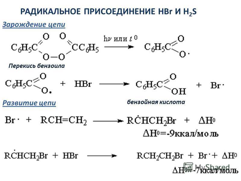 РАДИКАЛЬНОЕ ПРИСОЕДИНЕНИЕ HBr И H 2 S Перекись бензоила Зарождение цепи Развитие цепи · бензойная кислота
