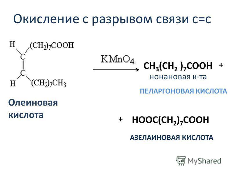Окисление с разрывом связи с=с CH 3 (CH 2 ) 7 СООН + + нонановайя к-та Олеиновайя кислота ПЕЛАРГОНОВАЯ КИСЛОТА АЗЕЛАИНОВАЯ КИСЛОТА НООС(СН 2 ) 7 СООН
