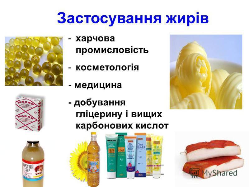 Застосування жирів -х-харчова промисловість -к-косметологія - медицина - добування гліцерину і вищих карбонових кислот