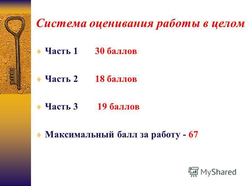 Система оценивания работы в целом Часть 1 30 баллов Часть 2 18 баллов Часть 3 19 баллов Максимальный балл за работу - 67