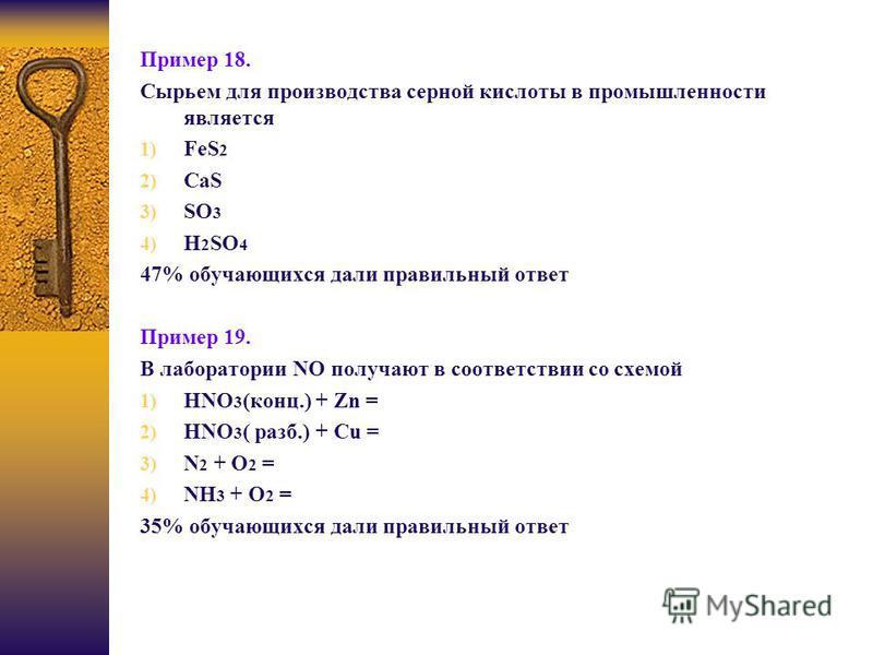 Пример 18. Сырьем для производства серной кислоты в промышленности является 1) FeS 2 2) CaS 3) SO 3 4) H 2 SO 4 47% обучающихся дали правильный ответ Пример 19. В лаборатории NO получают в соответствии со схемой 1) HNO 3 (конц.) + Zn = 2) HNO 3 ( раз