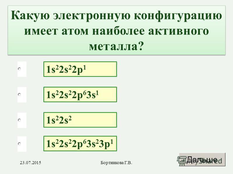 1s 2 2s 2 2p 1 1s 2 2s 2 2p 6 3s 2 3p 1 1s 2 2s 2 1s 2 2s 2 2p 6 3s 1 Какую электронную конфигурацию имеет атом наиболее активного металла? 23.07.20154Бортникова Г.В.