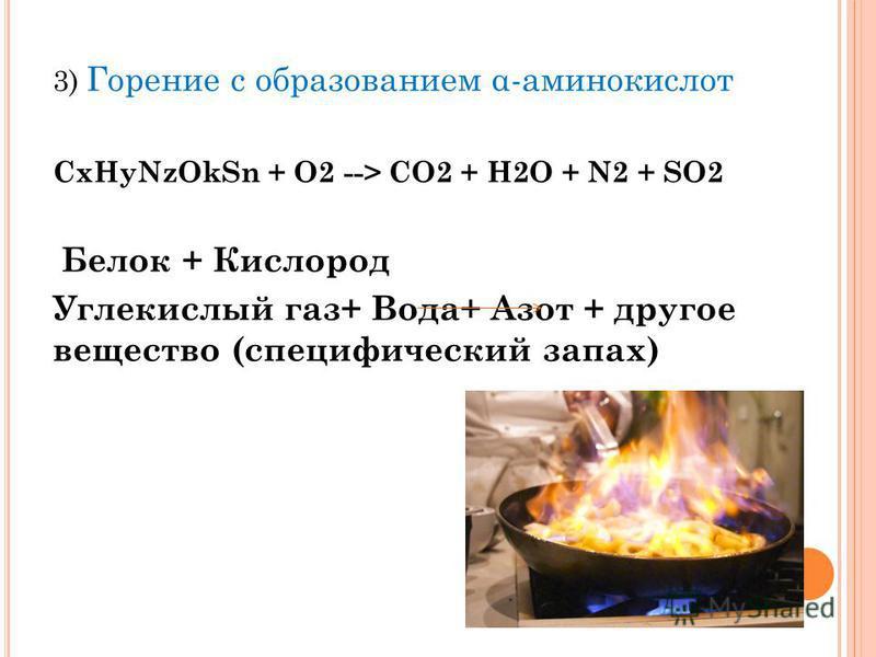 3) Горение с образованием α-аминокислот CxHyNzOkSn + O2 --> CO2 + H2O + N2 + SO2 Белок + Кислород Углекислый газ+ Вода+ Азот + другое вещество (специфический запах)
