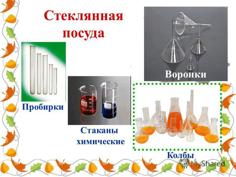 Стеклянная посуда Пробирки Колбы Стаканы химические Воронки
