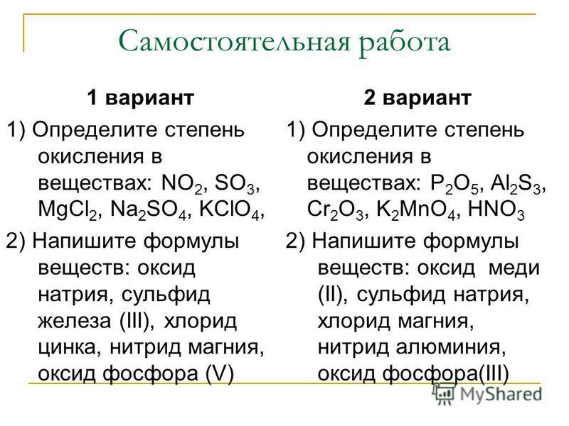 Самостоятельная работа 1 вариант 1) Определите степень окисления в веществах: NO 2, SO 3, MgCl 2, Na 2 SO 4, KClO 4, 2) Напишите формулы веществ: оксид натрия, сульфид железа (III), хлорид цинка, нитрид магния, оксид фосфора (V) 2 вариант 1) Определи