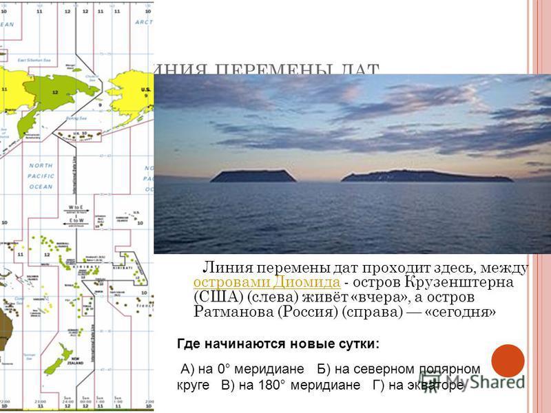 Л ИНИЯ ПЕРЕМЕНЫ ДАТ Линия перемены дат проходит здесь, между островами Диомида - остров Крузенштерна (США) (слева) живёт «вчера», а остров Ратманова (Россия) (справа) «сегодня» островами Диомида Где начинаются новые сутки: А) на 0° меридиане Б) на се
