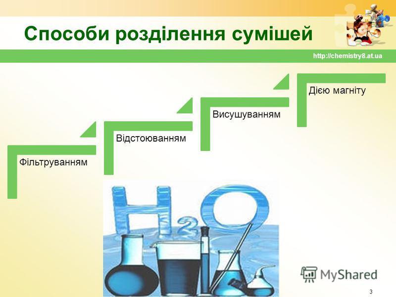 Способи розділення сумішей Фільтруванням Відстоюванням Висушуванням Дією магніту 3 http://chemistry8.at.ua