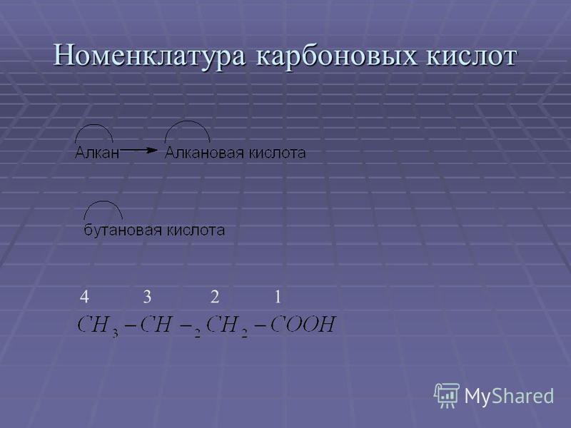 Номенклатура карбоновых кислот 1234