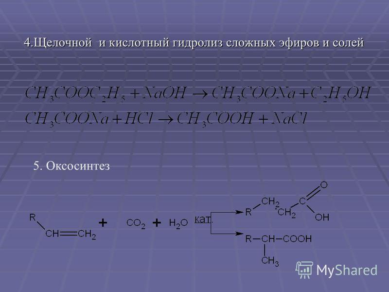 4. Щелочной и кислотный гидролиз сложных эфиров и солей 5. Оксосинтез