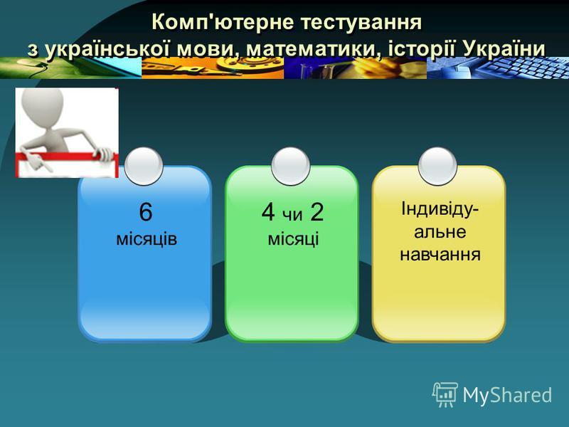 Комп'ютерне тестування з української мови, математики, історії України 6 місяців Індивіду- альне навчання 4 чи 2 місяці
