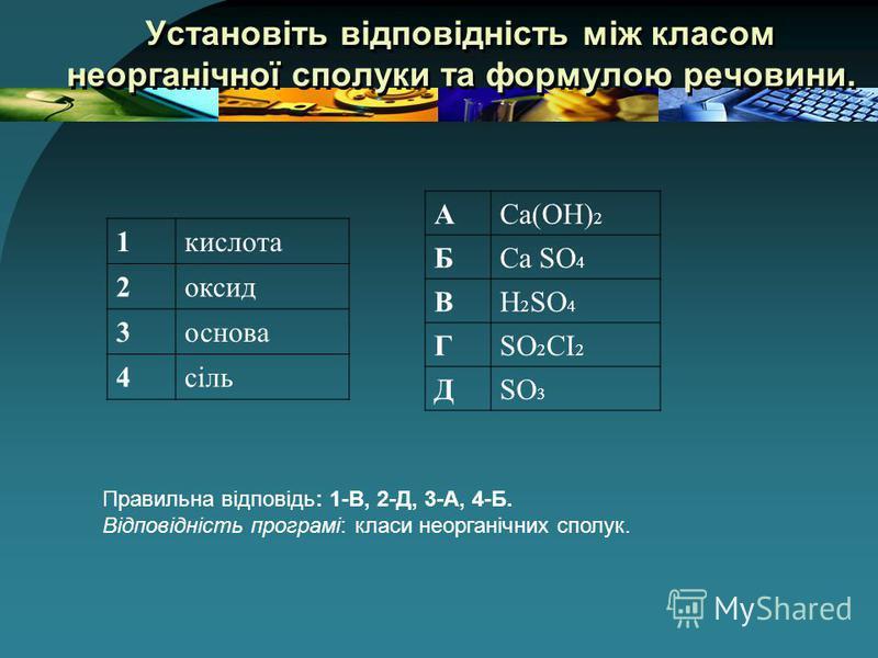 Установіть відповідність між класом неорганічної сполуки та формулою речовини. 1кислота 2оксид 3основа 4сіль АСа(ОН) 2 БСа SO 4 ВH 2 SO 4 ГSO 2 CI 2 ДSO 3 Правильна відповідь: 1-В, 2-Д, 3-А, 4-Б. Відповідність програмі: класи неорганічних сполук.