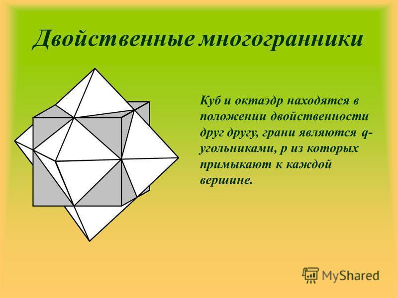 Двойственные многогранники Куб и октаэдр находятся в положении двойственности друг другу, грани являются q- угольниками, р из которых примыкают к каждой вершине.