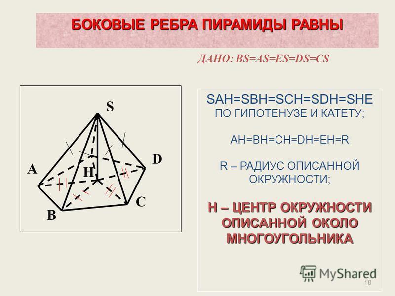10 S D C B A H БОКОВЫЕ РЕБРА ПИРАМИДЫ РАВНЫ ДАНО: BS=AS=ES=DS=CS SAH=SBH=SCH=SDH=SHE ПО ГИПОТЕНУЗЕ И КАТЕТУ; AH=BH=CH=DH=EH=R R – РАДИУС ОПИСАННОЙ ОКРУЖНОСТИ; H – ЦЕНТР ОКРУЖНОСТИ ОПИСАННОЙ ОКОЛО МНОГОУГОЛЬНИКА