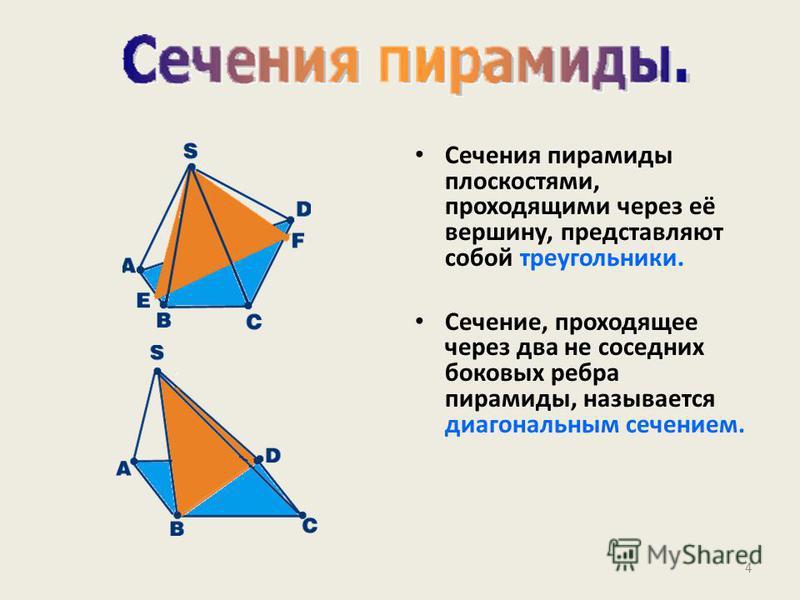Сечения пирамиды плоскостями, проходящими через её вершину, представляют собой треугольники. Сечение, проходящее через два не соседних боковых ребра пирамиды, называется диагональным сечением. 4