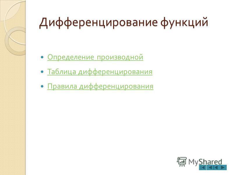 Дифференцирование функций Определение производной Таблица дифференцирования Правила дифференцирования