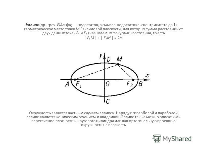 . Э́липс (др.-греч. λλειψις недостаток, в смысле недостатка эксцентриситета до 1) геометрическое место точек M Евклидовой плоскости, для которых сумма расстояний от двух данных точек F 1 и F 2 (называемых фокусами) постоянна, то есть | F 1 M | + | F