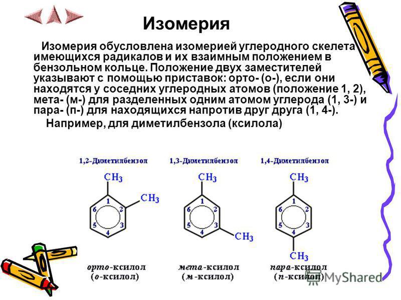 Изомерия Изомерия обусловлена изомерией углеродного скелета имеющихся радикалов и их взаимным положением в бензольном кольце. Положение двух заместителей указывают с помощью приставок: орто- (о-), если они находятся у соседних углеродных атомов (поло