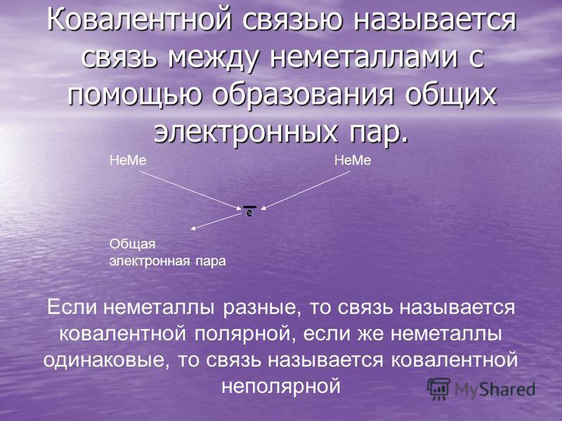 Ковалентной связью называется связь между неметаллами с помощью образования общих электронных пар. Не Ме Общая электронная пара Если неметаллы разные, то связь называется ковалентной полярной, если же неметаллы одинаковые, то связь называется ковален