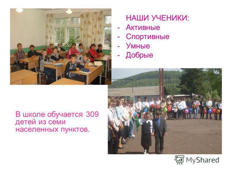В школе обучается 309 детей из семи населенных пунктов. НАШИ УЧЕНИКИ: -Активные -Спортивные -Умные -Добрые
