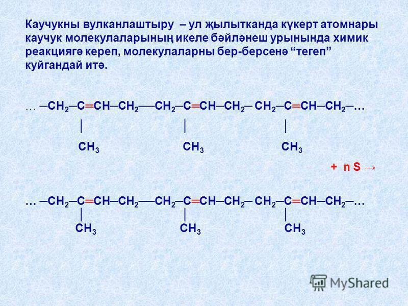Каучукны вулканлаштыру – ул җылыткпанда күкерт атомнары каучук молекулаларының ммикеле бәйләнеш урнында химик реакциягә креп, молекулаларны бер-берсенә тегеп куйгпандай итә. … … СН 2 ССНСН 2СН 2 ССНСН 2 СН 2 ССНСН 2 … СН 3 СН 3 СН 3 + n S … СН 2 ССНС